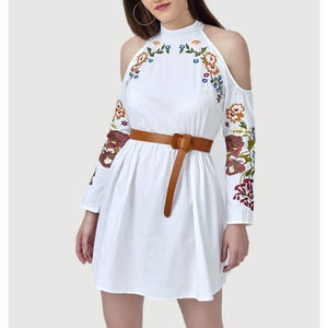 Asos Embroidered Mock Neck Cotton Dress White 6